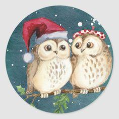 Christmas Owls, Christmas Couple, Christmas Stickers, Christmas Card Holders, All Things Christmas, Merry Christmas, Christmas Ornaments, Christmas Wedding, Christmas Cookies
