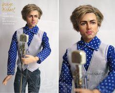 George Michael portrait, an ooak repaint doll by dreamdoll.pl / Bea Ihnatowicz