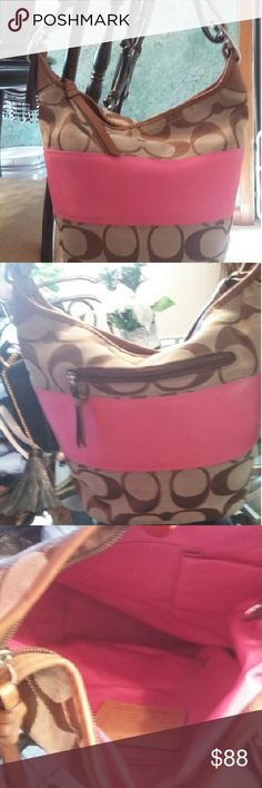 Beautiful Pink & Brown Authentic Coach Purse Beautiful Pink & Brown Authentic Bucket Bag Inside lined in Pink In Perfect Condition No Flaws Inside & Out Excellent! Straps are perfect! Very nice bag Open To Reasonable Offers Any questions please ask FAST Shipping Thanks for stopping by Coach Bags Shoulder Bags