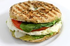 Panera Egg White, Avocado and Spinach Power Breakfast Sandwich (Copycat) My NEW skinny version is super yummy! It's much lower in fat and calories than Panera. Each has 277 calories, 10 grams fat and 7 Weight Watchers POINTS PLUS. http://www.skinnykitchen.com/recipes/panera-egg-white-avocado-and-spinach-power-breakfast-sandwich-copycat/
