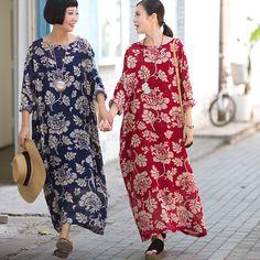 Maxi Size Big Floral Linen Dress Casual Dresses Women Clothes Q0721A