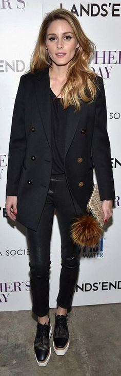 Who made Olivia Palermo's key chain, black blazer, and white platform shoes?