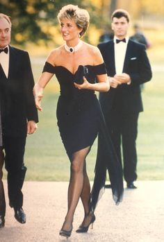 "June 1994, Prince Charles admitted adultery in a TV interview.  That same night Diana stunned onlookers in a plunging Christina Stambolian dress and choker.  As if to say ""What on earth are you thinking, Charles. ?"""