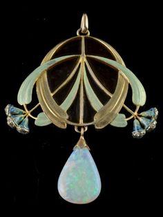 An Art Nouveau gold, enamel, opal and diamond pendant Eugène Feuillâtre, French. An 18 carat gold enamelled pendant with a large opal drop and small diamonds in the eucalyptus buds. Signed E. FEUILLÂTRE. 6.5 x 5.0 cm.