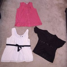 3 summer tops - Size Large - LOFT Old Navy NY&Co This listing is for three (3) summer tops, size large. The coral/pink top is LOFT, 100% cotton, sleeveless/lace trim/ruffle on the bottom/buttons top to bottom on the front. The off white is Old Navy, 100% cotton with a black ribbon that toes into a bow on the front. There's a side zipper, a split in the front and a matching off white lining. The brown is NY&Company, 98% polyester, 2% spandex. It's all Lace, the sleeves are split from the…