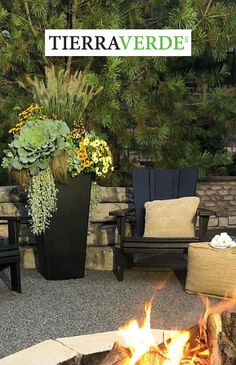 """Gather Outdoors™, safely and socially distanced, this Fall! Warm up by a fire, and decorate a welcoming, cozy seasonal space with statement planter arrangements. Designer Gretchen Hubbe of THRiVE PLANTERS in Illinois used the state 36"""" Sonata planter from the TierraVerde collection to create a stunning """"ode to autumn"""" using ornamental grasses and cabbage tucked with pops of fall color from pansies and rudbeckia! Welcome Fall! West Facing House, Self Watering Planter, Plastic Planter, Outdoor Material, Plant Needs, Ornamental Grasses, Water Plants, Fall Flowers, Outdoor Plants"""