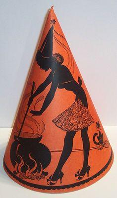 Vintage Witch Halloween Paper Hat