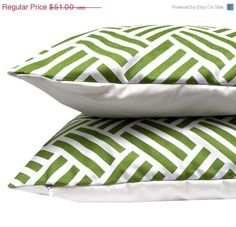 Christmas in July Sale - Set of 2 - Grass Green Parquet Throw Pillow Covers - Michael Miller Parquet in Grass fabric Pillow Cover