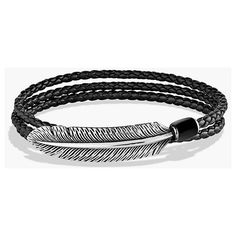 Men's David Yurman 'Frontier' Triple-Wrap Bracelet In Black Leather ($550) ❤ liked on Polyvore featuring men's fashion, men's jewelry, men's bracelets, black onyx, mens wrap bracelet, mens bracelets, david yurman mens bracelets, mens watches jewelry and mens leather bracelets