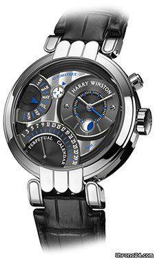 Harry Winston Premier Collection Excenter Perpetual Calendar 2010 $55,450 #HarryWinston #watch #watches 41 mm 18K white gold case, dark grey dial