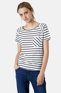 Free shipping and returns on Topshop Stripe Raglan Tee at Nordstrom.com. Crisp stripes style an easy raglan-sleeve tee fronted with a bias cut chest patch pocket.