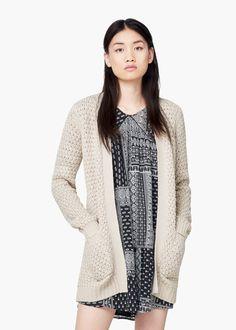Cárdigan bolsillos laterales - Cárdigans y jerséis de Mujer | MANGO