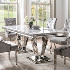 Faux Marble Dining Table Gold Dining Table Rectangular Stainless Steel Dining Table Arlesey Marble Dining Table In Grey With Stainless Steel Legs Marble Dinning Table, Dinning Table Design, Modern Dining Table, Dining Chairs, Stainless Steel Dining Table, Stainless Steel Furniture, Luxury Dining Room, Luxury Dining Tables, Restaurant
