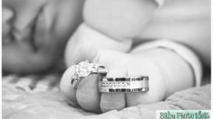 family photo ideas- A new way to take baby pictures with the parent's wedding rings. Newborn, baby pictures, newborn photography, wedding rings, baby hands, portraits