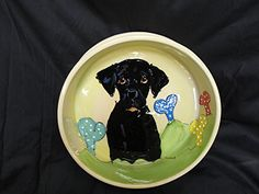 Black Labrador Retriever 10 Ceramic Dog Bowl for Food and Water Personalized at no Charge Signed by Artist Debby Carman *** More info could be found at the image url.(This is an Amazon affiliate link and I receive a commission for the sales) #DogBowls