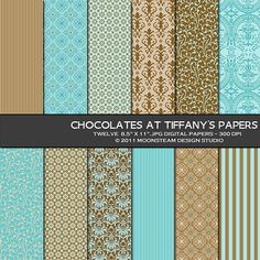 Blue Brown Digital Backgrounds, Chocolates at Tiffanys Digital Papers, 8.5x11 or 12x12 or A4, personal and commercial use. $3.95, via Etsy.