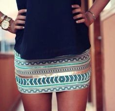 tribal bodycon blue skirt