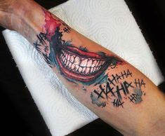 Best Tattoo Ideas Gallery - Part 6 - Joker Smile Tattoo The Effective Pictures We Offer You About wave tattoo A quality picture can tel - Dope Tattoos, Hand Tattoos, Forarm Tattoos, Badass Tattoos, Sleeve Tattoos, Tattoos For Guys, Chicano Tattoos, Tattos, Batman Tattoo