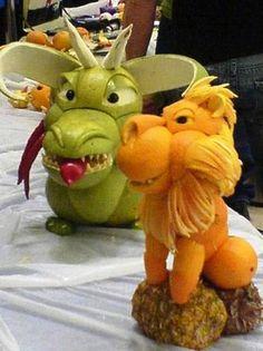 Orange lion and apple dragon #fruit