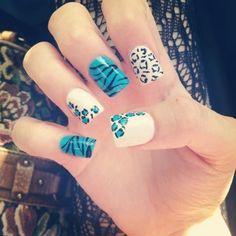 cute nails: zebra blue leopard!