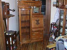 Quality Antique Quartersawn Oak Secretary Side by Side Desk Bookcase Griffins   eBay