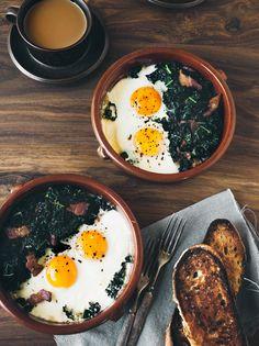 Prosciutto & Kale Baked Eggs | Eva Kolenko Photography