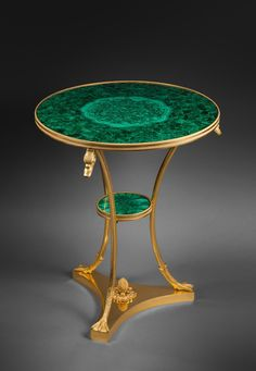 Gilt Bronze and Malachite Pedestal Table, Attributed to Martin-Guillaume Biennais, chased gilt bronze and Ural malachite pedestal table Paris, first third of the 19th century, circa 1815-1820 Height 69 cm; diameter 56.5 cm