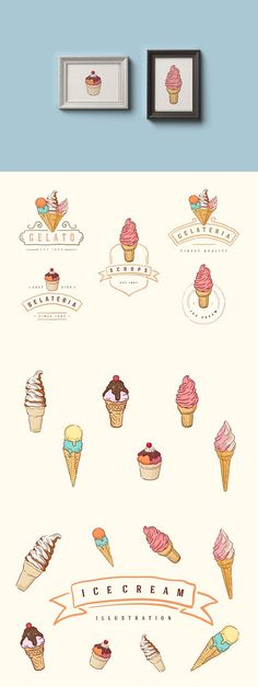NOW PART OF SWEETTOOTH PACK , check it out here: Cool hand-drawn, vector ice cream illustration and logos.