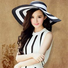8aa9e4e0465 New Brand Folding Black White Striped Hat Women Retro Vacation Summer Beach  Wide Hat. Cap GirlVisor HatsWomen s ...