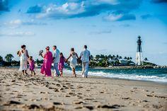 Beautiful South Florida beach wedding on north Pompano Beach with beautiful views of the Hillsboro Inlet Lighthouse.  Congrats Rhonda & Jeff!