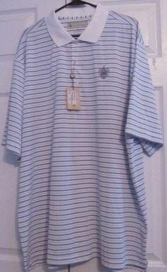 Donald Ross Men's Golf Shirt, XXL, White/Atlantic Blue, New With Tags #DonaldRoss