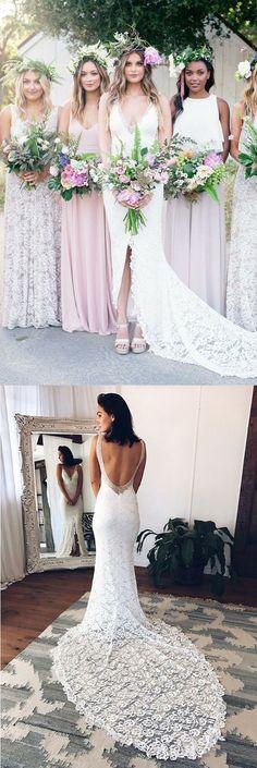 Beach Wedding Dresses V-neck Sheath Column Long Sexy White Lace Bridal Gown M0866