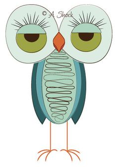 Awkward Retro Owl from Owl Print 8 of 13: Owl Travel   8.5x11 Print by AtomicOwls on Etsy