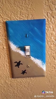 Cute Canvas Paintings, Small Canvas Art, Mini Canvas Art, Diy Canvas, Light Switch Art, Light Switch Covers, Art Sur Toile, Ocean Room, Cute Room Decor