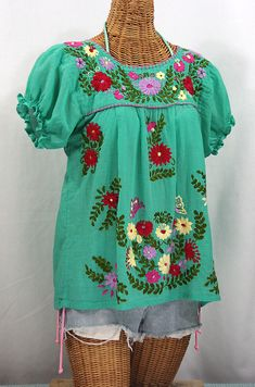 "Mexican Peasant Blouse Top Hand Embroidered: ""La Mariposa"" Mint Green with Multi-Color Embroidery ~ Size LARGE Mexican Top, Mexican Blouse, Mexican Outfit, Mexican Style, Mexican Fashion, Floral Embroidery Patterns, Vintage Embroidery, Hand Embroidery, Mexican Embroidery"