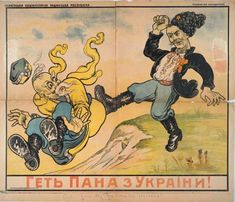 """Propaganda poster of Soviet Ukraine in the fight against the Poles used the class images of Cossack times. """"Off Pan from Ukraine""""."""