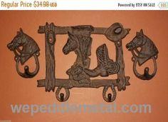 1 set, Double Hook, Cowboy theme, Plaque, 2 looped horsehead wall Hooks, shed hooks, tack hooks, garage wall hooks,Country Western,w