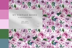 My Vintage Roses Watercolor Patterns by Olga,koelsch Blue Clematis, Clematis Flower, Watercolor Rose, Watercolor Pattern, Print Patterns, Graphic Patterns, Vintage Roses, Botanical Illustration, Poinsettia