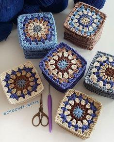 Grannysquare Pattern For Blanket - Best Knitting Granny Square Crochet Pattern, Crochet Squares, Crochet Motif, Crochet Designs, Crochet Yarn, Crochet Flowers, Lace Knitting Stitches, Knitting Patterns, Crochet Patterns