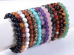 "8mm Fashion round gemstone beads stretchable bracelet 7"" | eBay"