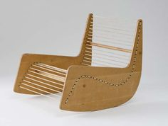 Floor Chair by Alexy Brodovitch: c. 1950. Plywood, wood dowels and plastic covered cord.