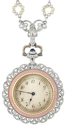 Enamel, seed pearl, and diamond pendant-watch. Belle Epoque, circa 1910. Via Diamonds in the Library.
