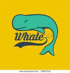 Whale logo vector - stock vector