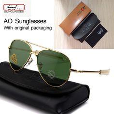 531dcfaa6ae Newest US Army MILITARY AO Brand Designer Aviator Sunglasses Glass Lens men  Sun Glasses oculos masculino With original Case logo
