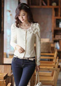 Wholesale Elegant Style Scoop Neck Bowknot Embellished Long Sleeve Cotton Blend Short Coat For Women (WHITE,M), Jackets & Coats - Rosewholesale.com