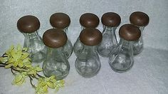 $19.96 or best offer Vtg 8 apothecary bottle spice jars glass faux wood top