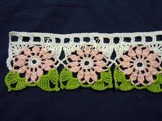 ...barrado Love Crochet, Crochet Trim, Thread Crochet, Filet Crochet, Crochet Motif, Beautiful Crochet, Crochet Designs, Crochet Doilies, Crochet Flowers
