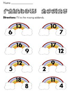 Missing Addends Rainbow Math Station and Worksheets