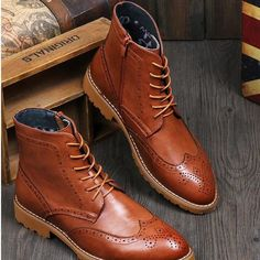 Ankle Rub Skin Color Cut Outs Men Shoes High Top Korean Version Low Heeled Winkle Picker Biker Boots Japanned Leather Carved