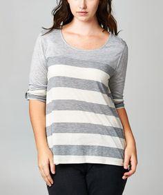 Look at this #zulilyfind! Gray & Ivory Stripe Scoop Neck Top - Plus by Tua Plus #zulilyfinds